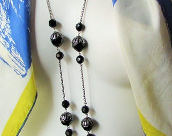 vintage Necklace Black Jet Glass on fine silver chain