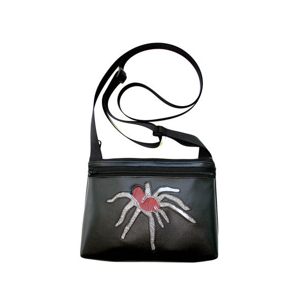Tarantula, silver glitter vinyl, black vinyl, boxy cross body, vegan leather, zipper top
