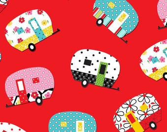 Quilt Camp by Henry Glass red camper toss