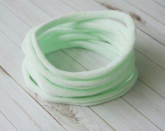 Mint nylon headbands, super thin soft stretchy, one size fits all headband, wholesale nylon headbands, diy headband, elastic headband