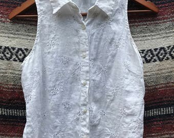 Vintage Eyelet Linen Button Up Tank: S/M