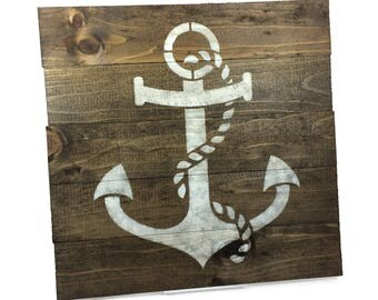 SALE Nautical Anchor Sign - Small Rustic Wood Sign - 13x13 Inch Wall Hanging/Decor