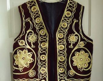 Vintage 60s Gold Trimmed MIRRORED Indian Velvet Vest sz M