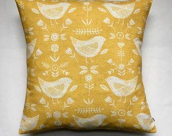 "Cute birds yellow mustard cushion cover 16"" (40cm x 40cm) scandi style cushion pillow cover Fryetts Narvik cotton fabric 16 inch"