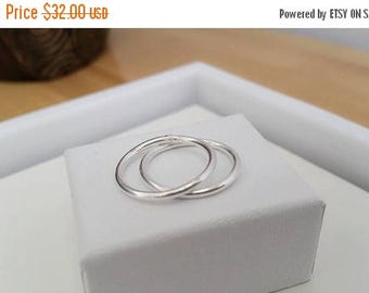 ON-SALE TWO Heavy Stacking Ring - Barely there Ring, Thin band Ring, Sterling Silver Ring, 14 gauge, Thumb Ring, Sterling Silver Band, Handm