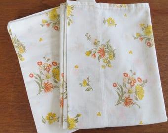 "Vintage Pillowcase Pair - Yellow & Orange Floral Dan River - 31"" x 20"" No Iron Muslin"