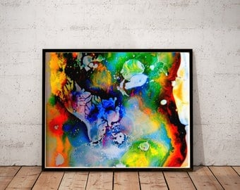 "abstract art / psychedelic painting print / trippy art print / 24x36 20x24 11x14  / colorful large wall art /  ""contemporary psychedelia 2"""