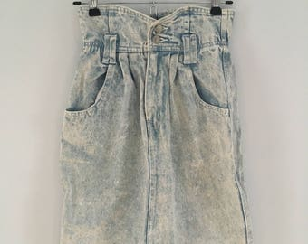 1990s Stonewashed 100% Cotton Denim Skirt By Stefano International Sportswear