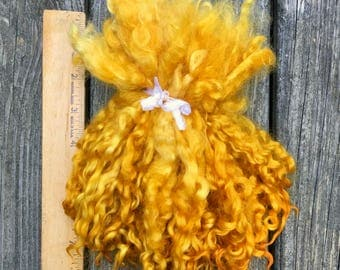 Teeswater Locks, Long, Dyed, Tailspinning, 1.5 ounces, Doll Hair, Spin, Felt, Fleece, Toasted Straw