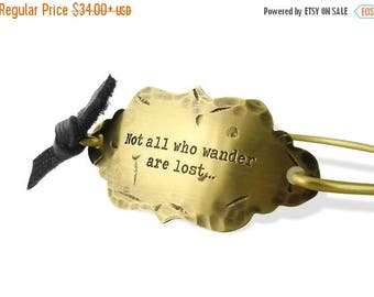 SALE Gold Bangle Bracelet Not all who wander are lost Wanderlust Rustic Dandelion Hand Stamped MTV Movie Awards Celebrity Gifting  B2