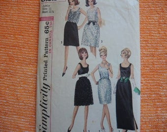 vintage 1960s simplicity sewing pattern 6227 junior dress in two lengths overskirt and top size 11