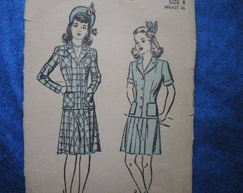 vintage 1940s Advance sewing pattern 3021 girls two piece suit jacket and pleated skirt size 8
