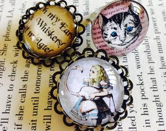 Alice in Wonderland Themed 25mm Pin Brooch or Ring