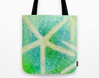 Starfish Photo Tote Bag, Beach Bag, Photo Tote, Travel Tote, Market Bag, Library Tote, Photography, Seashells