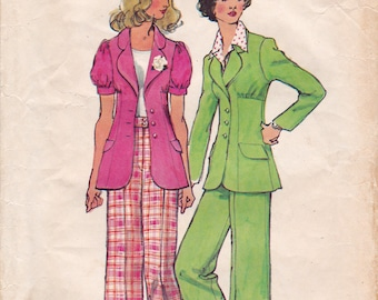 FF Simplicity 5642, 1970s Unlined Jacket with Cuffed Wide Leg Pants, Bell Bottom Pants Vintage Sewing Pattern, Size 9 or 12, Bust 33 or 34