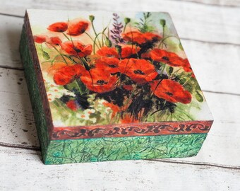 Mother's Home Gift, Jewelry Vintage Box, Poppy Home Decor, Flower Gift Box, Poppies Decor, Flower Jewelry Box, Shabby Wood Box