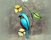 Stained Glass Bluebird Suncatcher Glass Art, Wildlife Art, Bird Lovers Gift