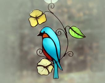 Stained Glass Bluebird Suncatcher Glass Art, Wildlife Art, Bird Lovers Gift