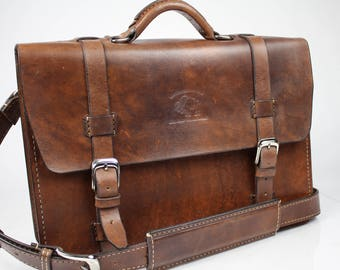"Leather Messenger Bag,  Leather Briefcase, Leather shoulder bag, Macbook Pro, 15"" - 184"