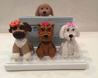 Business card holder for pet grooming, pet hospital, Veterinerian,dogs, Yorkie dog, Animal business card holder, desktop card holder.
