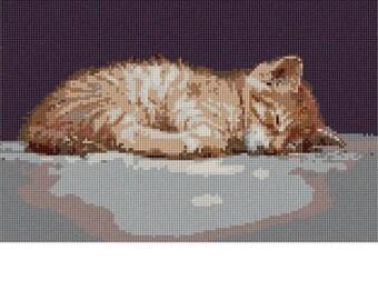Needlepoint Kit or Canvas: Cat Nap