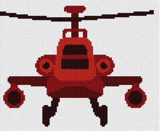 Needlepoint Kit or Canvas: Red Toy Helicopter