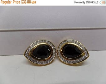 ON SALE SWAROVSKI Signed with Swan Jet Crystal Earrings