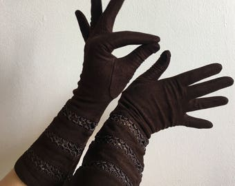 1940s Brown Gauntlet Gloves by Van Raalte, Size 6.5 Velsuede Rayon Gloves, 1930s/1940s Gloves