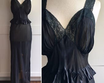 1940s Black Chiffon and Satin Peplum Gown with Lace Trim, Black Peplum Nightgown, 40s Black Sheer Gown, Evening Gown, Nightgown, 1940s