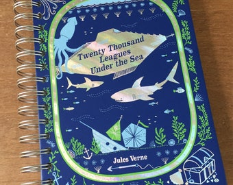 Twenty Thousand Leagues Under The Sea // Leatherbound  // Recycled Journal Notebook