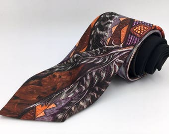 "Vintage 1990s Novelty Polyester Tie ""Headdress"" by Ralph Marlin"