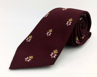 Vintage 1970s Burgundy Polyester Tie with Heraldic Club Pattern