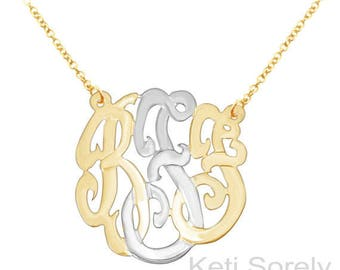 10K, 14K or 18K Solid Gold Monogram Initials Necklace Small to Large (Order Any Initials)