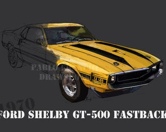 FORD SHELBY GT500 FASTBACK 1970 8.6x12in and bigger sizes,home decor,gift for men,bedroom decoration,office decoration,yellow and grey print