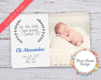 For This Child Printable Birth Announcement