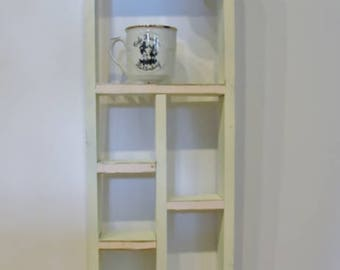 Vintage White Wood Curio Shelf with Corner Embelishment and Gold & Pink Detailing