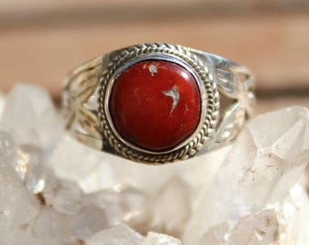 Silver and Red coral Tibetan style ring