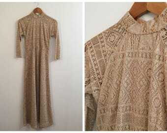 Vintage GOLD LUREX CROCHET Dress / size xsmall-small