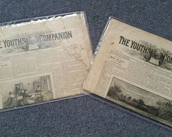 Vintage Set of Two-Old News Papers.The Youth's Companion No. 39 1885/88 Boston Newspaper   ,Perry Mason ,News Paper