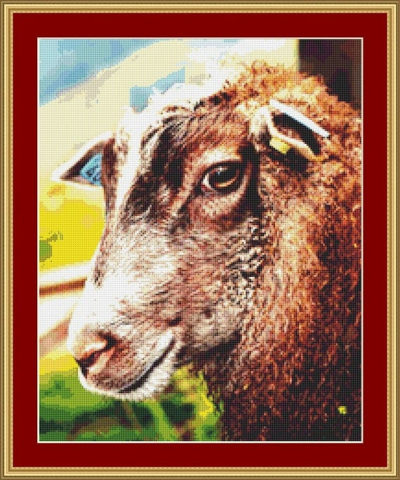 Face Of A Sheep Cross Stitch Pattern /Digital PDF Files /Instant downloadable