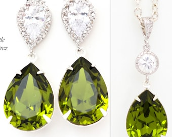 Green Jewelry Set Olive Green Earrings & Necklace Set Swarovski Crystal Jewelry Set Bridesmaid Jewelry Set Cubic Zirconia Jewellery OG31JS