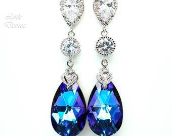Purple Bridal Earrings Long CZ Earrings Wedding Earrings Swarovski Earrings Purple Bridesmaid Jewelry Wives Gift Romantic Heliotrope HE32PC