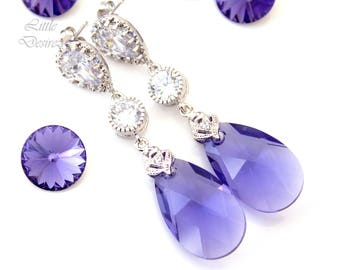 Purple Earrings Bridesmaid Earrings Purple Bridesmaids Swarovski Tanzanite Crystal Silver Earrings Lilac Earrings Lavender Earrings TZ32PC