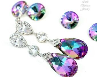 Long Bridal Earrings Crystal Earrings Pear Bridal Jewelry Pink Purple Earrings Swarovski Earrings Bridesmaid Earrings CZ Earrings VL32PC