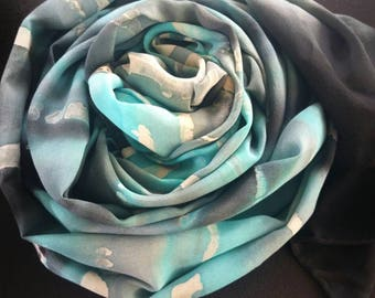 Made to Order,One of a kind,handpainted silk shawl,luxury scarves and wraps for women,women's accessories,turquoise, Tiffany blue,silkscarf