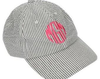 Monogrammed Ball Hat / Personalized Cap / Beach Hat / Gray Seersucker /Ball Cap /Women's Adult Hat /Gift / Graduation Gift