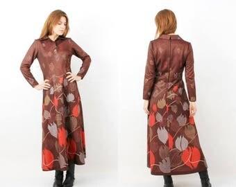 25% OFF 70s Maxi Dress / Vintage Maxi Dress / Boho Maxi Dress /  Mackerness Dress / Brown Floral Dress / Large Dress / Long Sleeve Dress