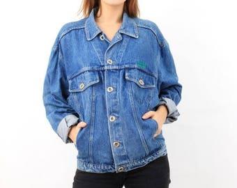 SALE Hugo Boss Jacket / Blue Denim Jacket / Man Denim Jacket / Vintage Denim Jacket / Large Denim Jacket / 80s Denim Jacket