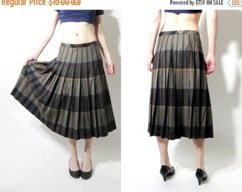SALE 90s Plaid Skirt / Accordion Skirt / Vintage Skirt / Boho Skirt / Tartan Skirt / Sixth Sense / Wool Skirt Size 42 / Large Skirt