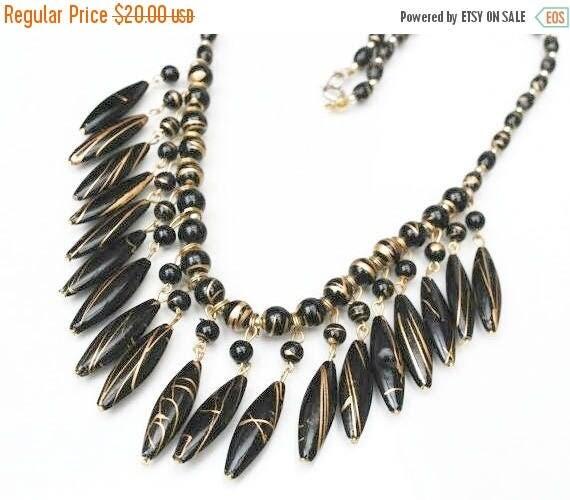 Bib Necklace - Gold  Black Bead - Resin  gold metal trim